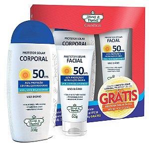 Kit Protetor Solar Corporal Vegano  FPS 50 200g + Protetor Solar Facial Vegano FPS 50 60g  - Flores e Vegetais