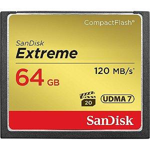 CARTÃO DE MEMÓRIA PROFISSIONAL CF SANDISK EXTREME 64GB - 120MB/S