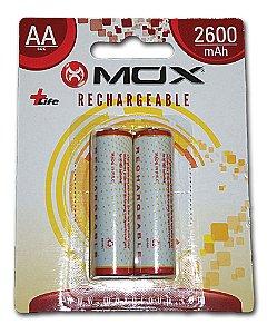 Pilha Mox Recarregavel 2600 mAh 2A com 2 pilhas