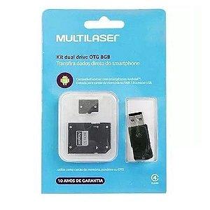 Kit Dual Drive Otg - Multilaser - 8gb De Memória- Mc130