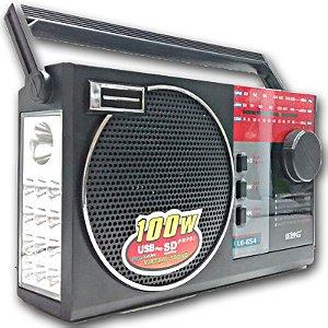 Rádio am/fm Le-654 Lelong Usb/Cartão/Sd recarregavel com Lanterna
