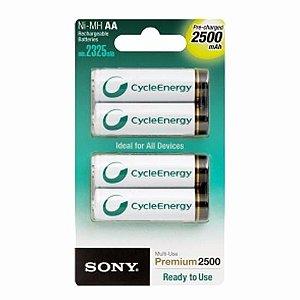Pilha Recarregavel Sony Aa 2500 Mah Com 4 Unidades Original