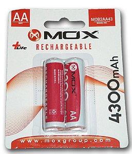 Pilha Mox Recarregavel 4300 mAh 2A com 2 pilhas