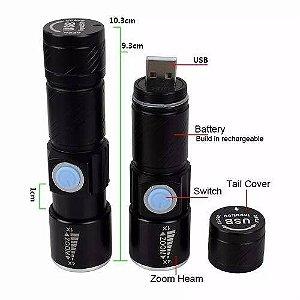 Mini Lanterna Led Q5 Profissional Recarregável Usb Strob