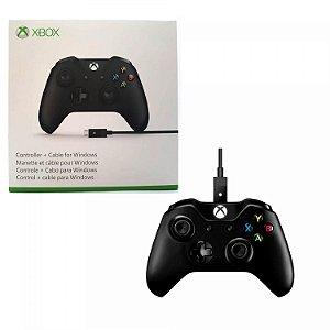 Controle Xbox One S Original Microsoft Slim com cado de dados Preto