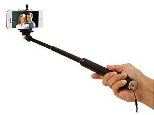 Bastão de Selfie Monopod Universal Android Ios Via Cabo P2