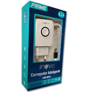 Carregador Turbo Inova  5.1A - 3 Usb Prime CAR-8551