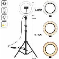 Ring Light 26 cm 10 Polegadas + Tripé 2,1m
