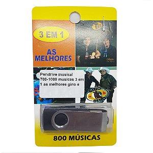 Pendrive musical 700-1000 musicas Gino e Geno