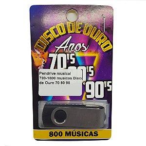 Pendrive musical 700-1000 musicas Disco de Ouro 70 80 90