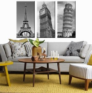 Quadro Torre Eiffel Big Ben Torre de Pisa kit 3 Telas Premium