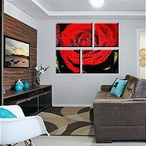 Quadro Flores Rosa Abstrato 4 Peças em Tecido Canvas