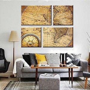 Quadro Mapa Mundi 4 Peças em Tela Decorativa