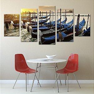 Quadro Veneza Italia Barcos 5 Conjunto de Telas Decorativas