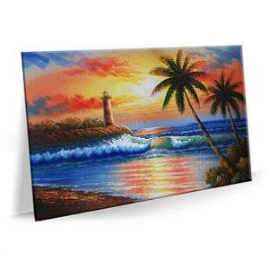 Tela Decorativa Pintura Praia Sol para Sala