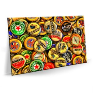 Quadro Bear Tampas de Cerveja Tela Decorativa