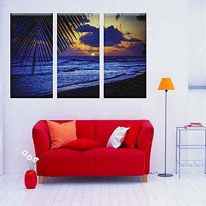 Quadro Decorativo Praia Luar 3 peças