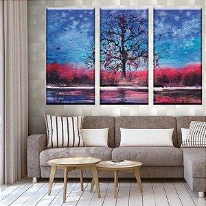 Conjunto  Quadros Decorativos Pintura Arvore 3 peças