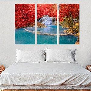 Conjunto 3 Quadros Lago Cachoeira