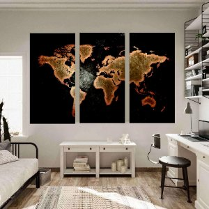 Conjunto de 3 Quadros Mapa Mundi