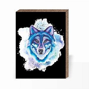 Quadro Lobo Aquarela [ Box em MDF ]