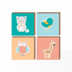 Conjunto Quadros Infantil Animaizinhos  [ Box em MDF ]