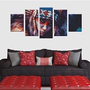 Quadro India Apache Conjunto 5 Tela Decorativa em Canvas