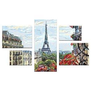 Quadro França Conjunto Assimétrico Tela Decorativa em Canvas