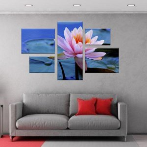 Quadro Lotus Conjunto Assimétrico Tela Decorativa em Canvas