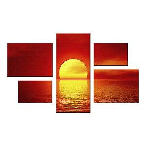 Quadro Conjunto Por do Sol  Assimétrico Tela Decorativa em Canvas