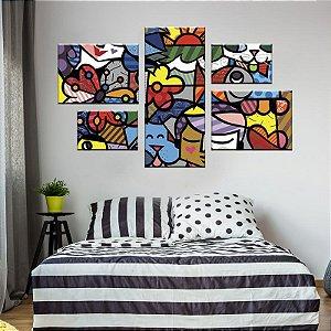 Quadro Conjunto Romero Britto Assimétrico Tela Decorativa em Canvas