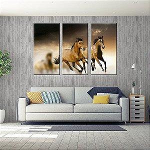 Quadro Cavalos Conjunto 3 Telas em Canvas