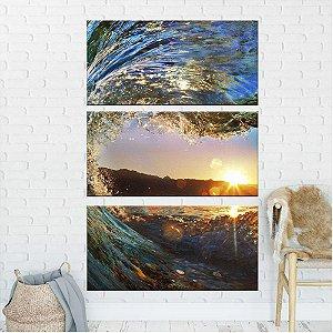 Quadro Natureza Oceano Sol  3 Telas Decorativa