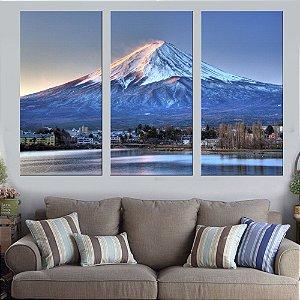 Quadro Natureza Monte Fuji 02 Conjunto 3 Telas Decorativas