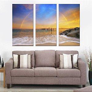 Quadro Natureza Praia Arco Íris Conjunto 3 Telas Decorativas