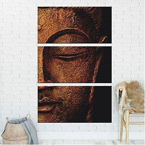 Quadro Buda Religioso 3 Telas Decorativa