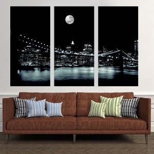 Conjunto de 3 Quadros  Ponte do Brooklyn NY
