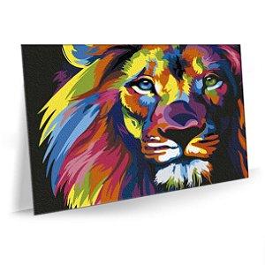 Quadro Leão Colorido Moderno Tela Decorativa