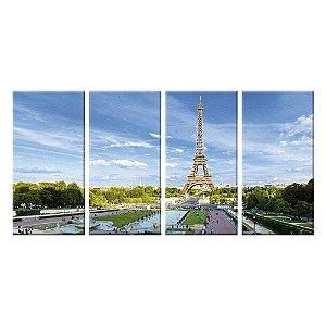 Quadro Panorâmico Torre Eiffel Londres 212x100cm   4 Telas de Tecido