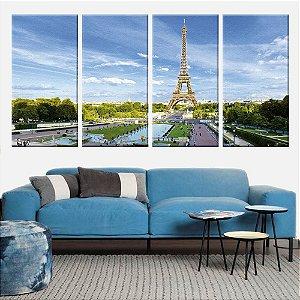 Quadro Panorâmico Torre Eiffel Londres 212x100cm | 4 Telas de Tecido