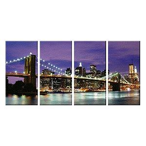 Quadro Panorâmico Ponte do Brooklyn NY 212x100cm | 4 Telas de Tecido
