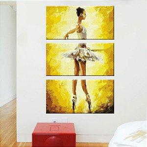 Quadro Ballet Pintura Vertical 3 Telas Decorativas