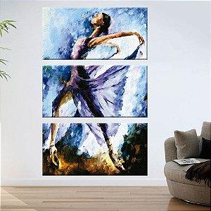Quadro Bailarina Azul Pintura Vertical 3 Telas Decorativas