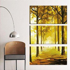Quadro Floresta Pintura Vertical 3 Telas Decorativas