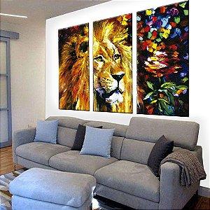 Quadro Leão Pintura Dourado 3 Telas Decorativas