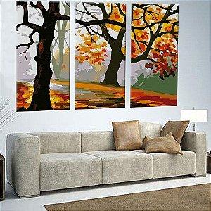 Quadro Floresta Florida Pintura 3 Telas Decorativas