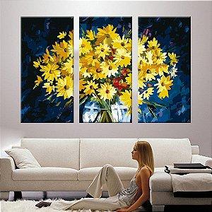 Quadro Vaso de Girassol Pintura 3 Telas Decorativas