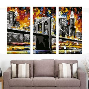 Quadro Ponte Brooklyn Art Decor 3 Telas Decorativas