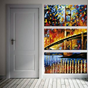 Quadro Golden Gate Pintura Vertical 3 Telas Decorativas