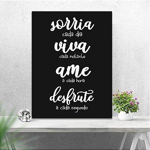 Placa Decorativa Sorria Viva Ame Desfrute (AL) 30X40CM